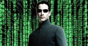 Neo standing in the Matrix
