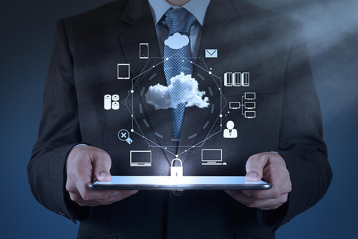 Businessman hand working with a Cloud Computing diagram on the new computer interface as concept-2